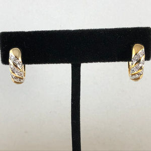 Jewelry - Gold Filled 2 Tone Pave Set Crystals Huggy Hoops